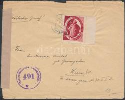 1947 Levél SAS ívszéli 60(+50)f bérmentesítéssel osztrák cenzúrával VESZPRÉM - Bécs