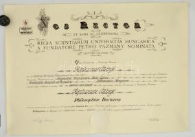 1942 Filozófiai doktori diploma. Szekfű Gyula aláírásával