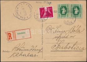 1948 Ajánlott levelezőlap Pengő-fillér 1Ft pár és Szabadsághőseink 60f bérmentesítéssel KISKUNHALAS - Szabadka