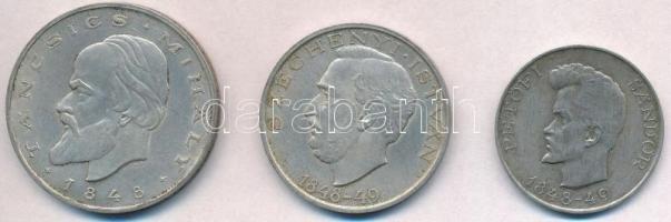 1948. 5Ft Ag Petőfi + 10Ft Ag Széchenyi + 20Ft Ag Táncsics - Szabadságharc sor T:2 apró ph.  Adamo EM1, EM2, EM3