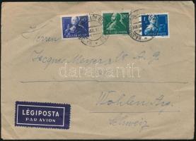 1948 Légi levél Szabadsághőseink 10f, 20f és 1Ft bérmentesítéssel HAJDÚSZOBOSZLÓI GYÓGYFÜRDŐ Svájcba küldve