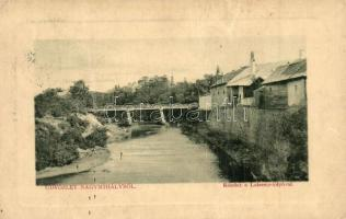 Nagymihály, Michalovce; Laborcz-folyó, híd, Tandesmann B. kiadása, W. L. Bp. 5639. / river, bridge (fa)