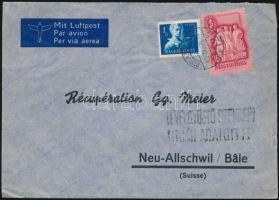 1949 Légi levél Szabadsághőseink 1Ft és Szakszervezet 30f bérmentesítéssel Svájcba küldve