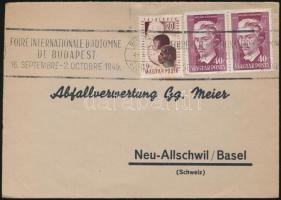 1949 Levél VIT 20f és Petőfi 40f pár bérmentesítéssel Őszi vásár bélyegzéssel BUDAPEST Svájcba küldve