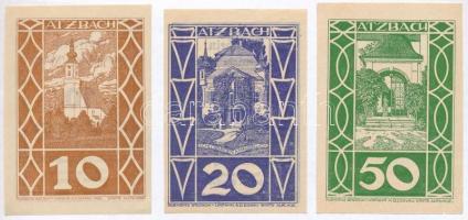 Ausztria / Atzbach 1920. 10h + 20h + 50h szükségpénz T:1,1- egyiken kis szakadás Austria / Atzbach 1920. 10 Heller + 20 Heller + 50 Heller necessity notes C:UNC,AU one with small tear
