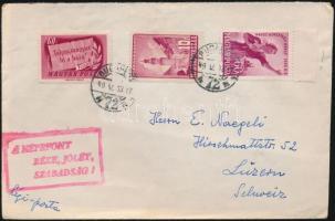 1949 Légi levél 1Ft 30f vegyes bérmentesítéssel hirdető bélyegzéssel Svájcba küldve