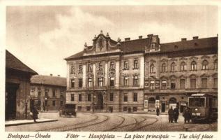 Budapest III. Óbuda, Főtér, elöljárósági palota, villamos