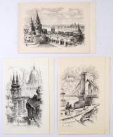 Vertel József (1922-1993): Budapesti látképek, 3 db kisgrafika, rézkarc, papír, hátoldalukon feliratozva, 9×14 cm