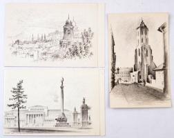 Vertel József (1922-1993), Gerstenbrein Ferenc, Füle Mihály (1914-2005): Budapesti látképek. 3 db kisgrafika, rézkarc, papír, hátoldalon feliratozva, 14x9 cm és 10x15 cmx2.