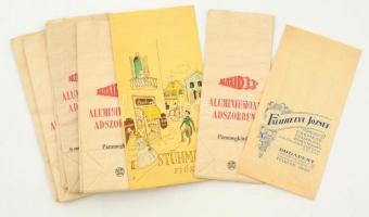 cca 1920-1940 9 db feliratos, reklámos papírzacskó, közte fűszer és csemegebolté is