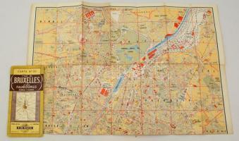 cca 1950 Brüsszel térkép. Nagyméretű, kihajtható