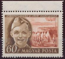1950 Gyermek (I.) 60f ívszéli tévnyomat Utánpótlásunk a jövő harcaihoz (190.000) (tűhegynyi sárgás folt / small stain)