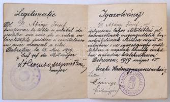 1919 Debrecen román megszállás alatt kiállított kétnyelvű igazolvány / Debrecen Romanian occcupation id