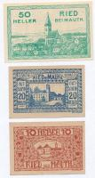 Ausztria / Ried bei Mauth 1920. 10h utalvány + 20h utalvány + 1920. 50h szükségpénz T:I,I- Austria / Ried bei Mauth 1920. 10 Heller voucher + 20 Heller voucher + 1920. 50 Heller necessity note C:UNC,AU