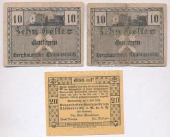 Ausztria / Thomasroith bányászkerület 1920. 10h (2x) + 20h T:II,III Austria / Thomasroith Bergbaurevier 1920. 10 Heller (2x) + 20 Heller C:XF,F