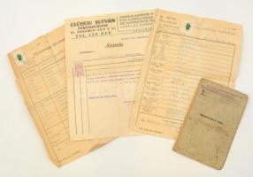 cca 1940 4 db vegyes okmány, benne katonakönyv is