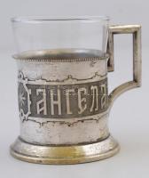Alpakka pohártartó üveg betéttel Angela 1843 felirattal
