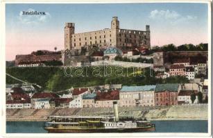Pozsony, Pressburg, Bratislava; vár, gőzhajó / castle, steamship