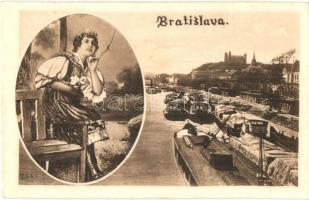 Pozsony, Pressburg, Bratislava; rakpart, folklór / quay, folklore