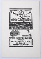 Nagy Árpád Dániel (1922-1985): Új címen, fametszet, papír, 14x10 cm.