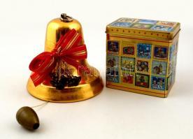 2 db zenélő harang, zenélő doboz. Karácsonyi dísz