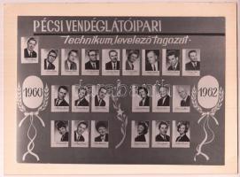 1966 Pécsi Vendéglátóipari Technikum. tablókép 18x12 cm