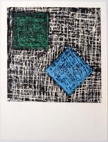 Jelzés nélkül: Kockák, vegyes technika, papír, 14.5x14.5 cm
