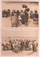 cca 1930 Norddeutscher Lloyd Bremen reklámnyomtatvány, hozzá négy, hajóutazáson készült fotó / Booklet and ship photos