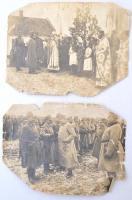 cca 1916 Két megviselt I. világháborús fotó, az egyiken IV. Károly. 17x12 cm