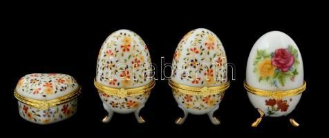 Porcelán szívecske és tojás alakú ékszertartók, réz szerelékkel, matricás, jelzés nélkül, összesen: 4 db, saját dobozában, újszerű állapotban, m: 6 cm