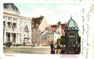 Pozsony, Pressburg, Bratislava; Kossuth Lajos tér, Brachfeld üzlet reklámja / square, shop advertisement (EK)