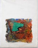 Jelzés nélkül: Kétoldalas absztrakt, kollázs, vegyes technika, papír, 15x15 cm