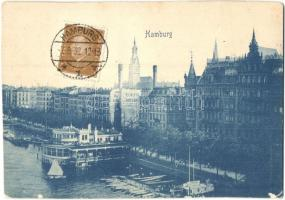 Hamburg, general view, Stollwerck chocolate advertisement, quay (non PC) (vágott / cut)