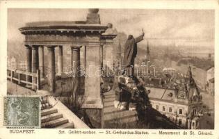 Budapest - 2 db RÉGI városképes képeslap, Szent Gellért és Hunyadi János szobrok / 2 pre-1945 townview postcards, statues