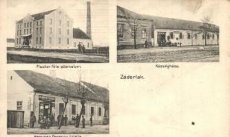 Zádorlak, Zadareni; Fischer-féle gőzmalom, Községháza, Hemmen Ferenc üzlete, Dajkovits J. utóda kiadása / steam mill, community house, shop (b)