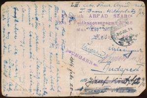 1916 Tábori posta képeslap TP 44 + K.u.k. Feldkanonenregmt. No.36 + Fährlich ARPAD SZABO