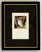 Szász Endre (1926-2003): Női portré. Szitanyomat, papír, jelzett, üvegezett keretben, 7×7 cm