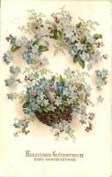 18 db RÉGI születésnapi üdvözlőlapok, litho és dombornyomott lapokkal, vegyes minőség / 18 pre-1945 greeting cards, litho and embossed cards, mixed quality