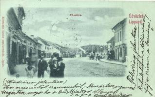 Lippa, Lipova; Fő utca, Konstantin Sándor kiadása / main street (vágott / cut)