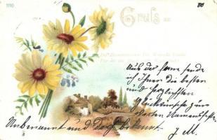 10 db RÉGI hosszú címzéses virágos üdvözlőlap, vegyes minőség / 10 pre-1901 floral greeting cards, mixed quality