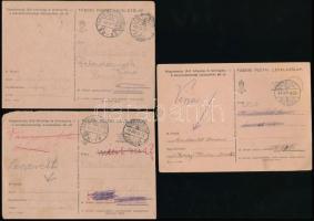 3 db II. világháborús tábori levelezőlap visszaküldve a feladónak
