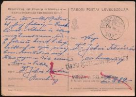 1944 Tábori posta levelezőlap M.KIR. MOZGÓPOSTA 102 + TÁBORI POSTASZÁM HELYTELEN + VISSZA A FELADÓNAK