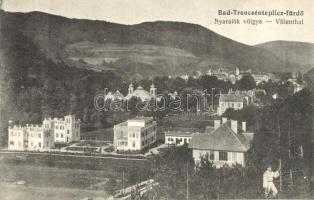 Trencsénteplic-fürdő, Trencianske Teplice; Nyaralók völgye / Villenthal / villa alley (vágott / cut)