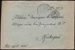 1938 Levél M. KIR. KASSA-I JÁRÁSI katonai parancsnokság + KASSA VISSZATÉRT bélyegzéssel