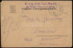 1916 Tábori posta levelezőlap kézzel rajzolt képpel K.u.k.Inft. Nr.99 4./XXIII. Marschkomp. + EP CHELM c