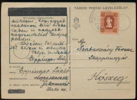 1946 Levelezőlap M.KIR. MOZGÓPOSTA 468 nem kivésett bélyegzés
