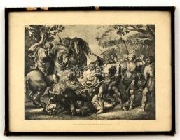 Vadkan vadászat. Fényomat, papír, kissé viseltes üvegezett fa keretben, Divald Károly kiadása, 18x25 cm.
