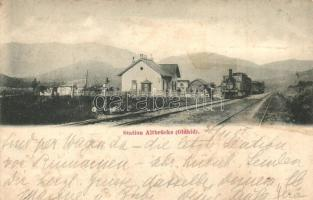 Olt-híd, Altbrücke (Oldhíd); vasútállomás gőzmozdonnyal / railway station with locomotive. Lichtdruck v. Josef Drotleff (Rb)