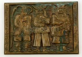 Rajki László (1939-): Busójárás Mohács. Bronz falikép, jelzett, 17×25 cm