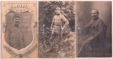 cca 1900-1920 Katonai portrék, 5 db, az egyik feliratozva, dátumozva, 10x16 cm és 14x9 cm közötti méretben.